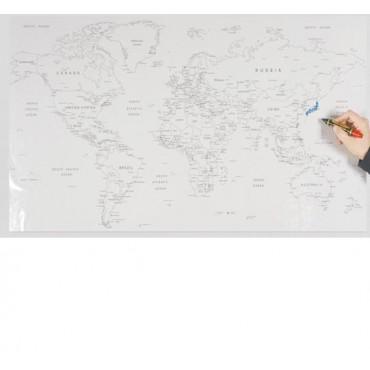 110x56 Panda Statik Kağıt Tahta Dünya Haritası