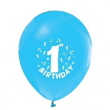 Balon Happy Birthday 1 Yaş Baskılı Mavi