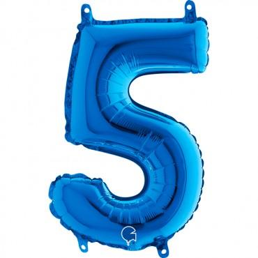 Folyo Rakam Balon 5 Mavi 14 İnç 35 Cm