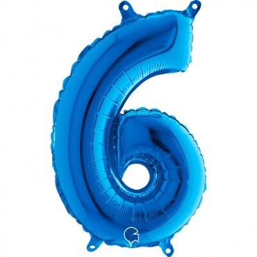 Folyo Rakam Balon 6 Mavi 14 İnç 35 Cm