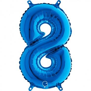 Folyo Rakam Balon 8 Mavi 14 İnç 35 Cm