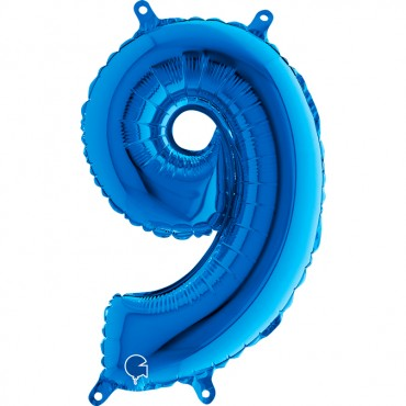 Folyo Rakam Balon 9 Mavi 14 İnç 35 Cm